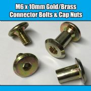 M6 x 10mm Gold Brass Yellow Furniture Connector Bolts With Cap Nuts Joint Fixing